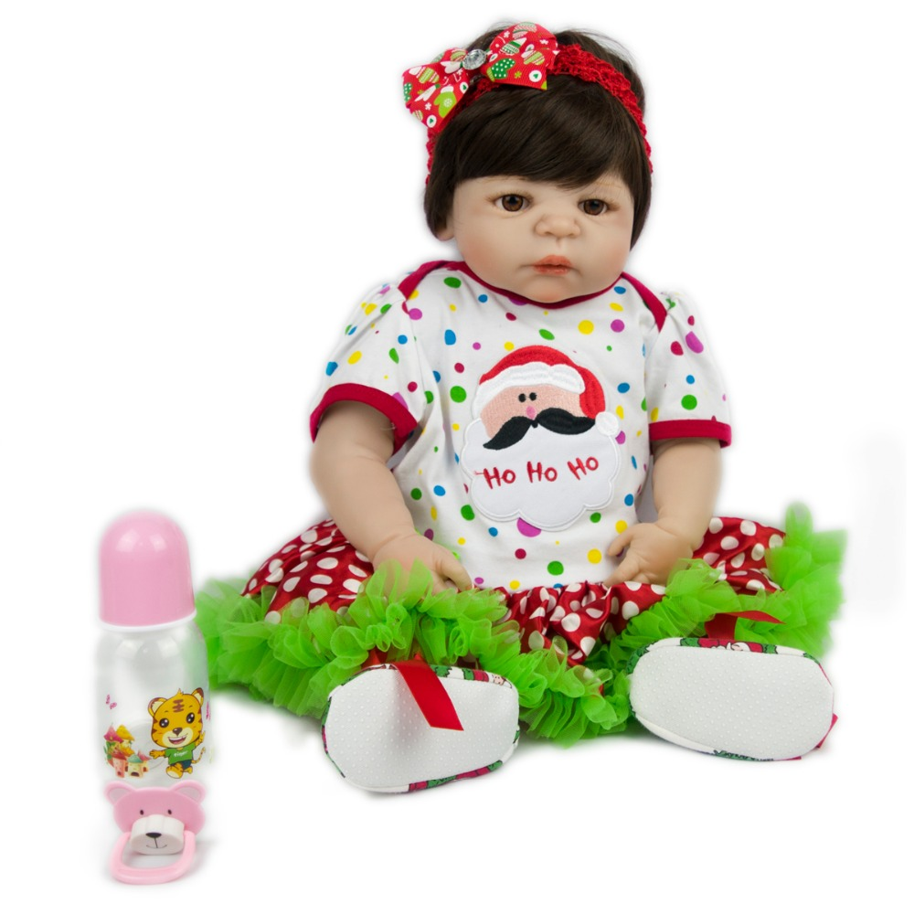 NPKCOLLECTION57cm Fashion full silicone baby girl with colorful skirt and colorful Bow knot hoop silicone reborn baby dolls