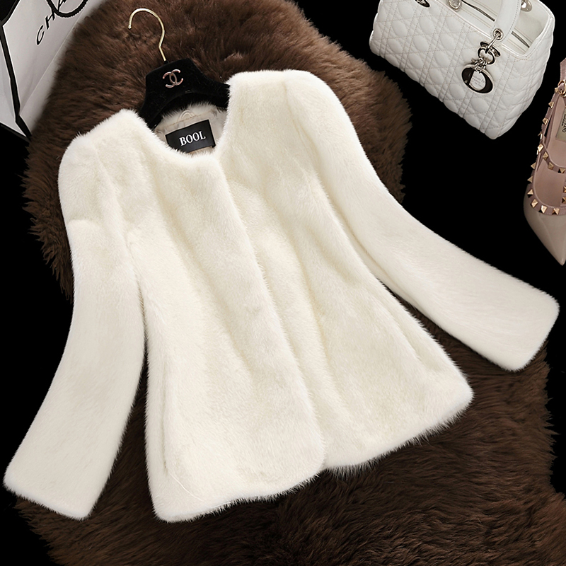 New Fashion 2016 Autumn Winter Women Fur Coat Faux Fur Coat Long Sleeve Fake Fur Coats