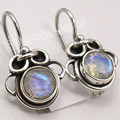 Solid Silver Facetted RAINBOW MOONSTONE FACTORY DIRECT Earrings 7/8 inches
