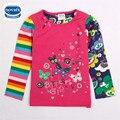 Retail kids niños ropa flor de mariposa de algodón de manga larga camiseta de la muchacha nueva nova niños ropa de los niños usan ropa