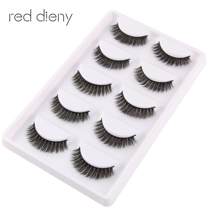 5 pairs Handmade Cotton Stalk long 3d mink False Eyelashes Cross Messy Dense Natural Eye Lashes Stage Makeup False Eyelashes