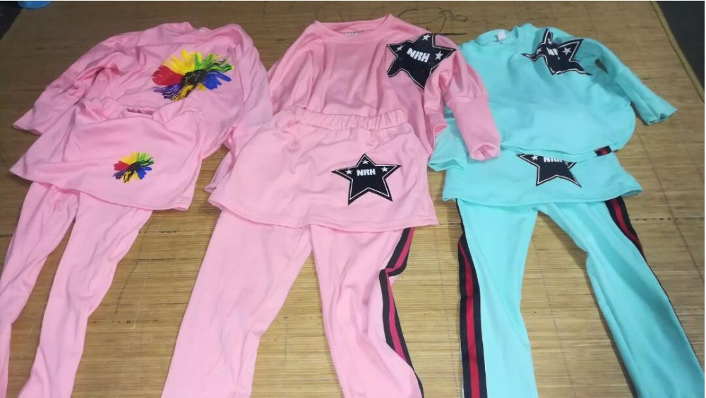 JENYA 2017 spring autumn girls children clothing set baby cotton fashion coat kids batwing sleeve T shirt pants skirt 2 pcs set in Clothing Sets from Mother Kids