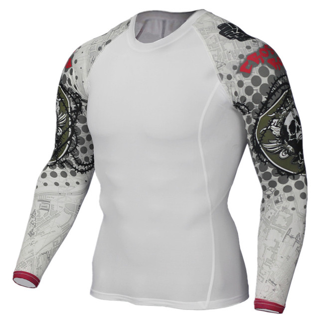 Muscle Men Compression Tight Skin Shirt Long Sleeves 3D Prints Rashguard Fitness Base Layer Weight Lifting Male running Tops