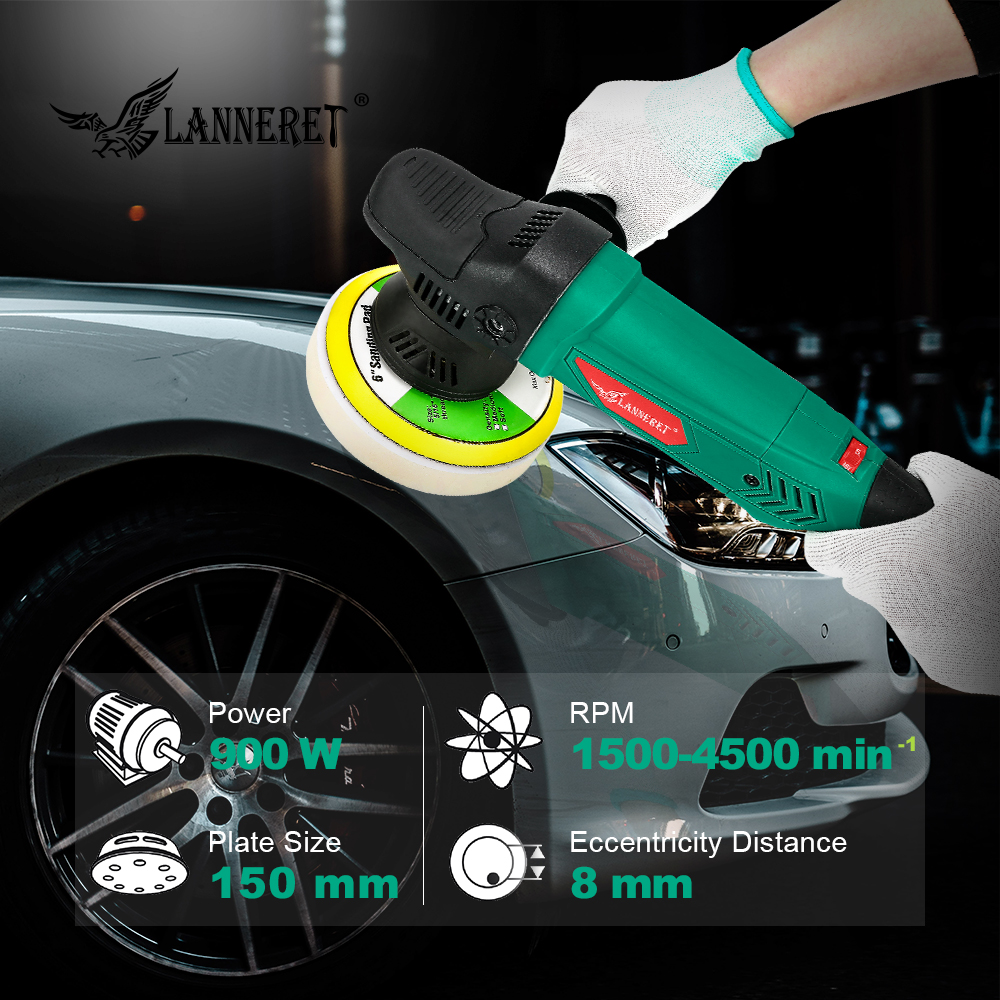Image 5 - LANNERET 6'' Dual Action Polisher 900W Variable Speed Electric Polisher Shock and Polishing Machine Cleaner Polishing Pad-in Polishers from Tools