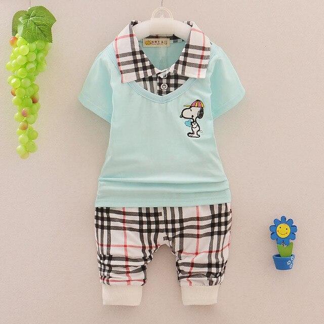 Детская одежда мальчиков костюмы 2015 лето мультфильм лацкане плед сращивания моды мальчиков устанавливает короткий рукав футболки + брюки наборы для мальчики