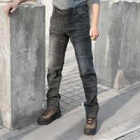 Calças de brim jeans tático calças de brim elásticas confortável comprimento total multi bolsos commuter fortalecer joelho legging