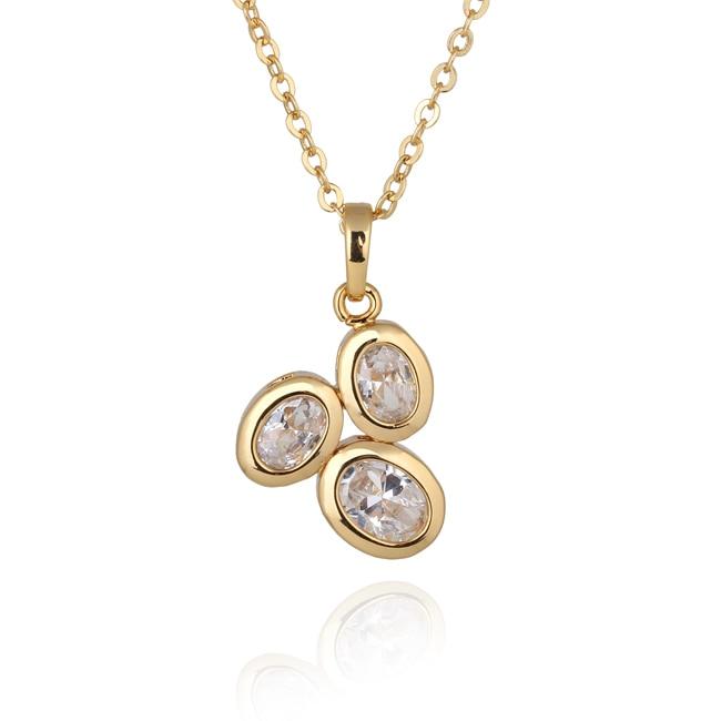 En gros Délicat 3-Stone Or Jaune-Couleur Clair Ovale Cubique Zircone  Pendentif Femmes Collier Pas de Nickel cd64f6058955