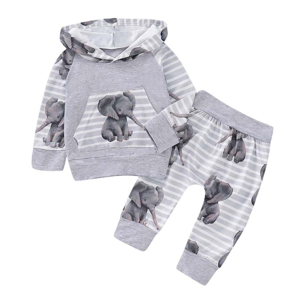 HEART SPEAKER Newborn Toddler Baby Boy Girl Hoodie Long Sleeve Striped Top Pants Outfit Set