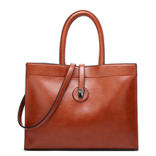 Vintage Women Handbag Oil Wax PU Leather Shoulder Bag ladies big handbag bags for women 2019 tote bags for women torebka damska