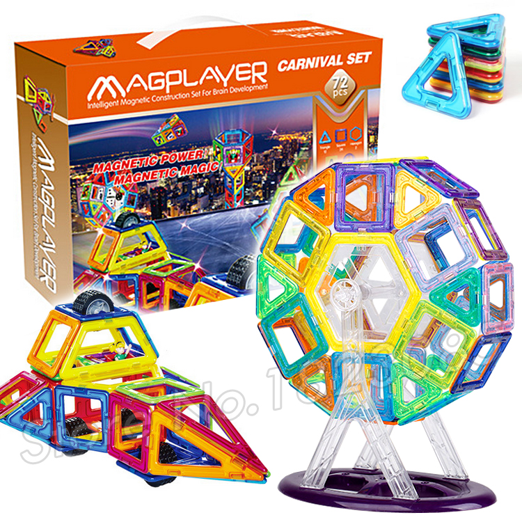ФОТО 72 pcs/set Magnetic Toy ABS Plastic Building Block 3D Blocks DIY Kds Toys Educational Model Building Kits Magnets Designer Set