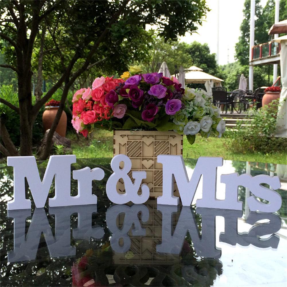 Asypets белый мистер и миссис буквы знак стоял деревянный стол Опора Свадебные украшения питания-35