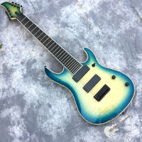 Free delivery, brand new custom electric guitar, blue corrugated top, 8 string guitar, black hardware, logo color customizable.