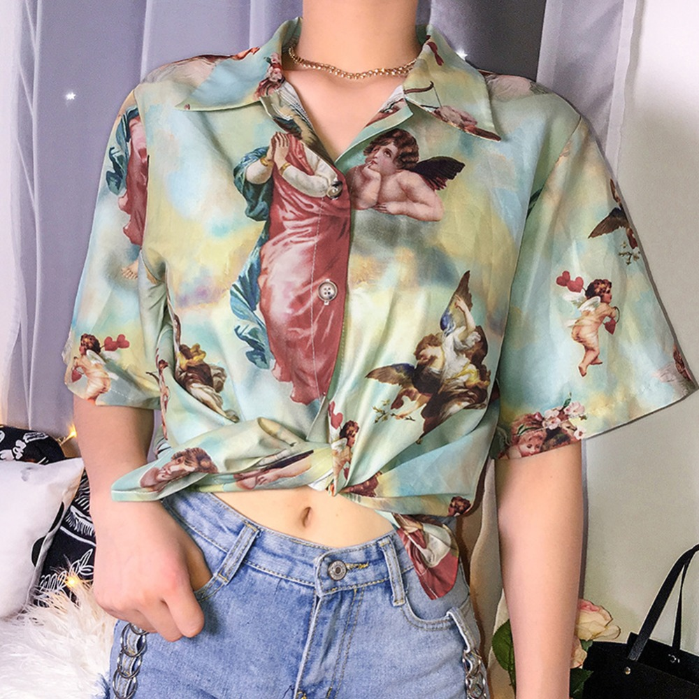 Vintage Women' Blouse Aesthetic Cupid Angel Printed Shirt Cardigan Short Sleeve Summer Top Graphic Blouse Women Clothes