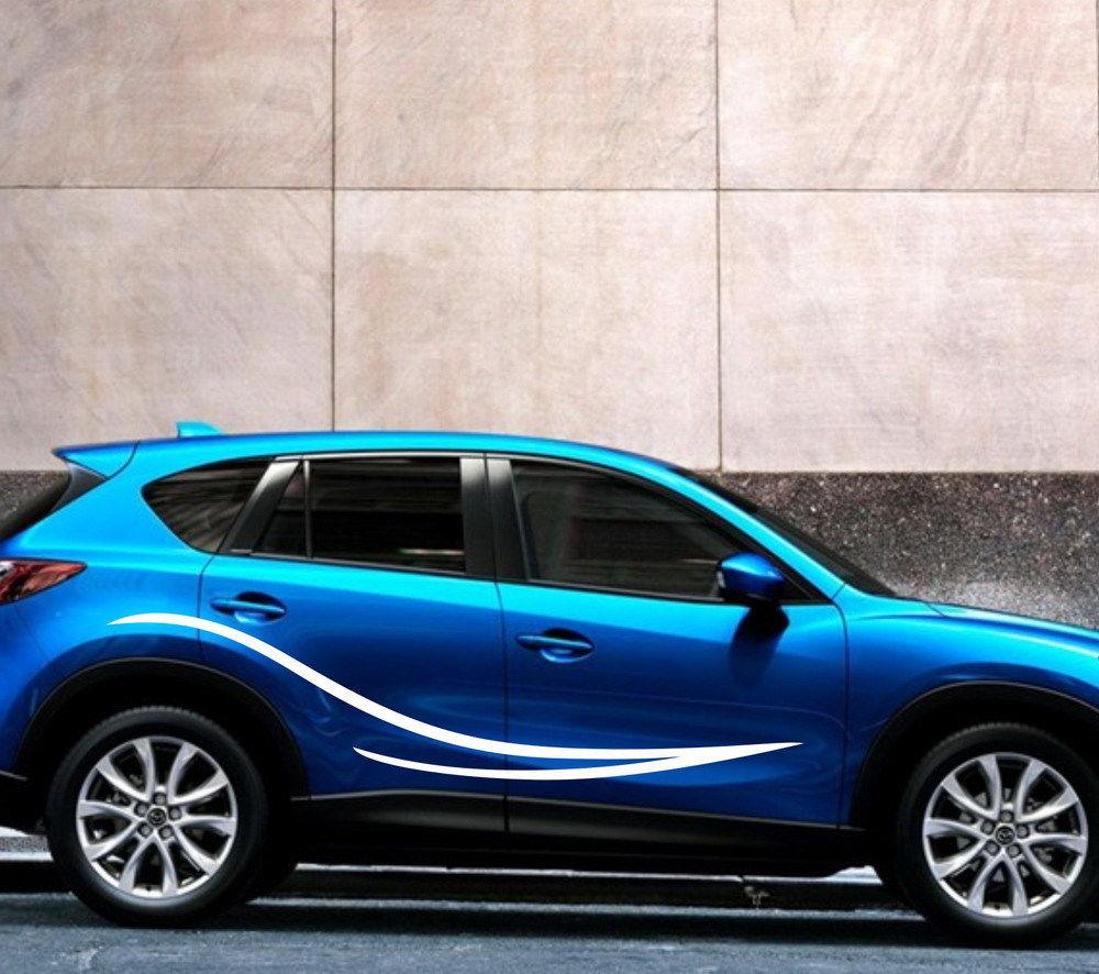 HotMeiNi 200 CM * 30 CM 2 X Course Automobile rayures Porte Autocollant Vinyle Auto Moteur Autocollant Graphique Autocollants De Voiture