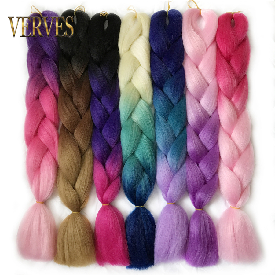 VERVES Braiding Hair 1 piece 24 '' Syntetisk Jumbo Braids 100g / Sticka Krokad Ombre Color Kanekalon Fiber Hair Extensions