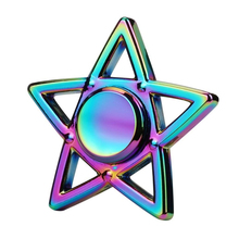 รูปดาวห้าแฉกที่มีสีสันมือนิ้วโลหะอยู่ไม่สุขปินเนอร์EDCนิ้วผู้ใหญ่ความเครียดHandspinnerของเล่น