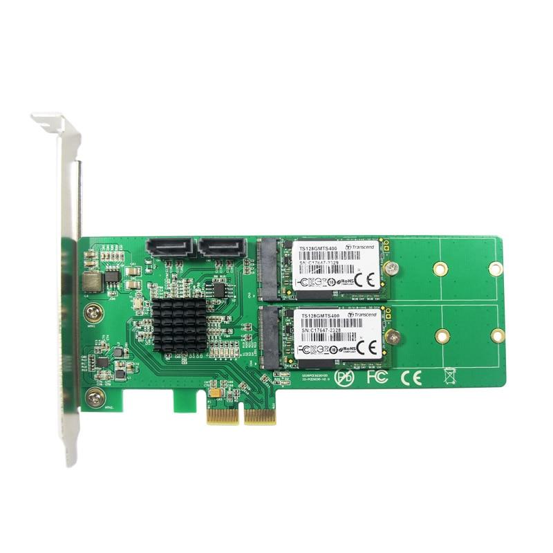 ФОТО IOCrest PCIe to 2x M.2 NGFF SSD + 2x SATA3.0 Hardware RAID Card RAID 0 1 10 and HyperDuo