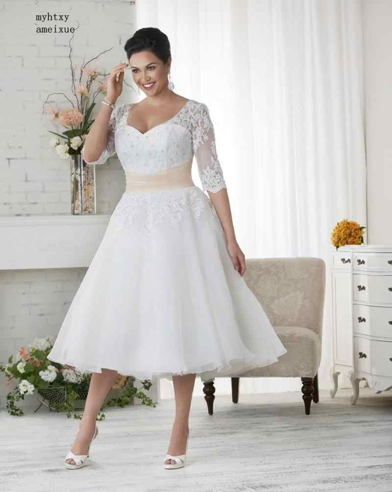 תה אורך בתוספת גודל ארוך חתונת שמלות 2019 חצי שרוולי אפליקציות תחרה חרוזים נשים כלה שמלת תפור לפי מידה Vestido דה Noiva