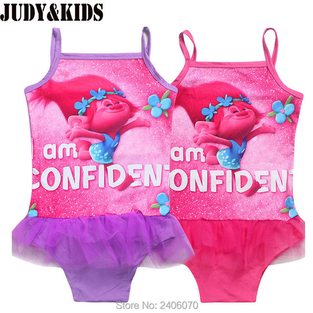 7277ec807b9ad Baby Girls Bathing Suit Poppy trolls Swimsuit Children Bikini Set kids  Cartoon Swimwear Costumes beach girl Tankini Sunsuit