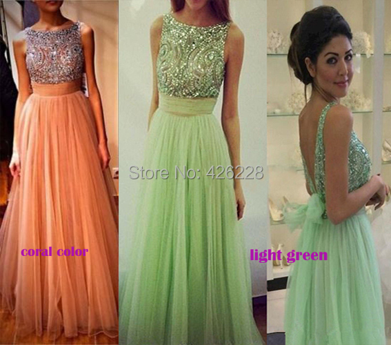 Beaded Top Chiffon Mint Green Prom Dresses Backless Bow Long - anjing* wedding store