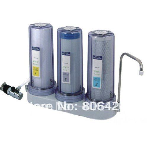 3 stages water filter system + universal tap water valve connector+direct drinking high quality 3 stage undersink ion exchange resin drinking water filtration remove calcium and magnesium 1 4 quick connector