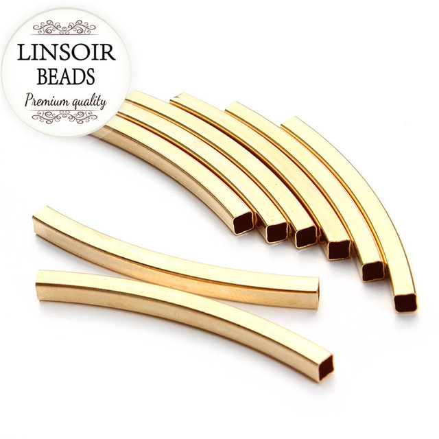 Pcs lot gold color smooth square brass curved tube
