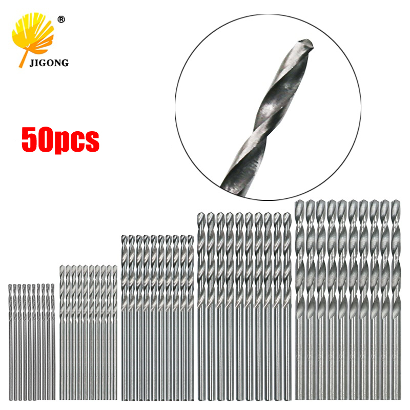 JIGONG 50Pcs HSS 4241 High Speed Steel Drill Bit Set Tool 1mm 1.5mm 2mm 2.5mm 3mm