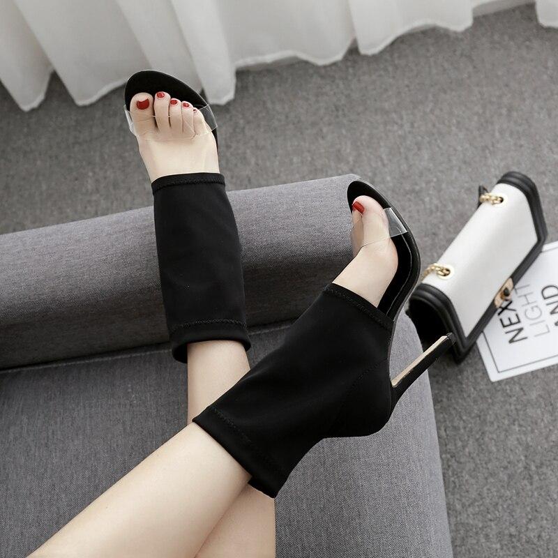 Sandalias Tacón Bombas Botas Abierta Alto De Hueco Mujeres Punta Verano Mujer Moda Cortas Las Transparente Negro Zapatos nwgB1qOX