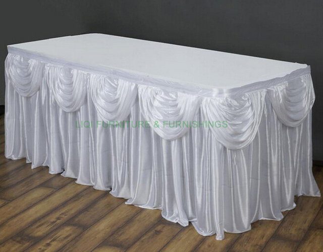 Hotsale Quality Wedding Table Skirting With Arch Party Table Skirt