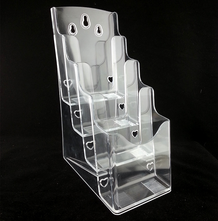 Clear A6 4 Tiers Plastic Brochure Literature Display Magazine Holder Racks Stand To Insert Leaflet On Desktop 20pcs clear 2pcs a5 3 tiers plastic brochure literature pamphlet display holder racks stand to insert leaflet on desktop