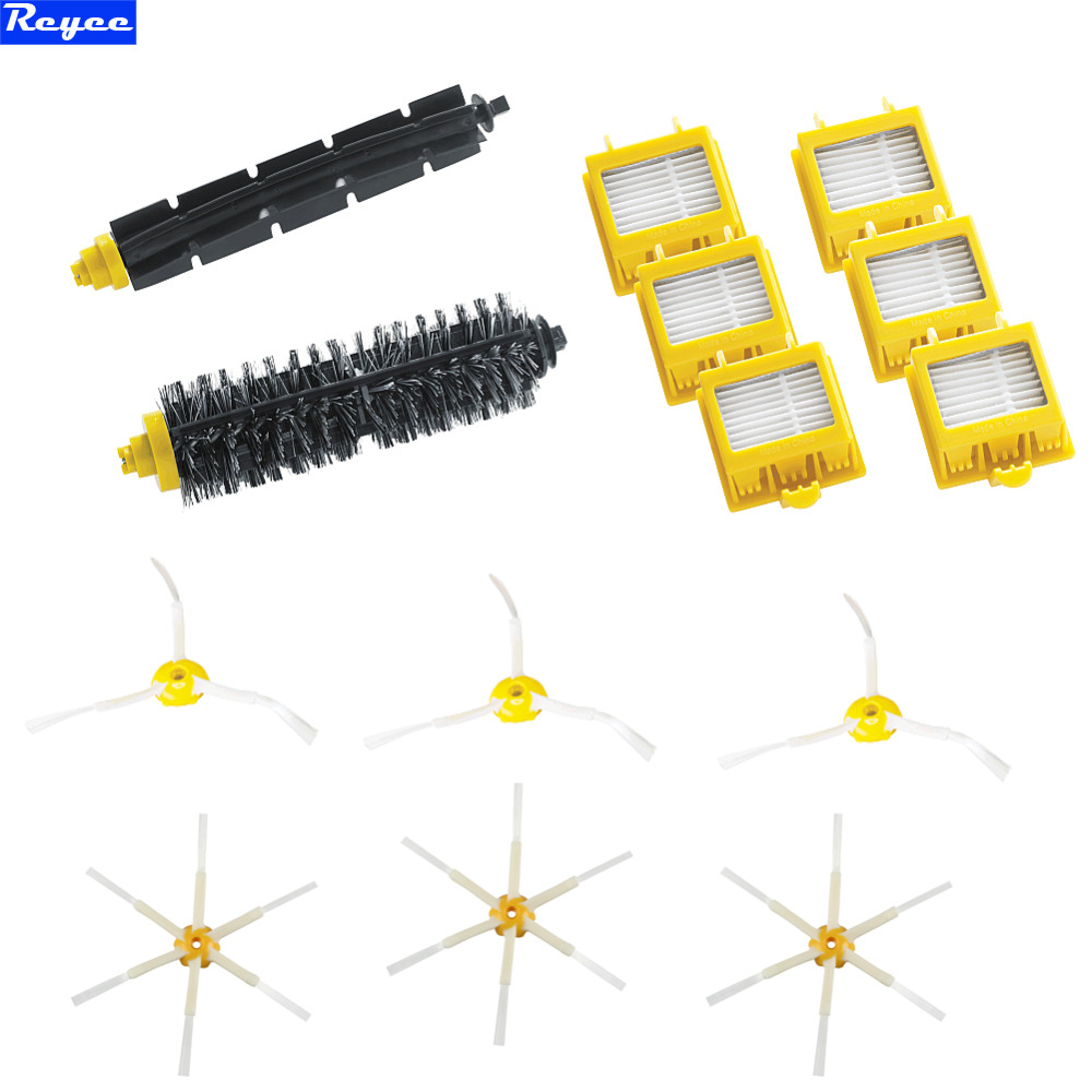 Filters & Brush 3 & 6 armed side Brushes for iRobot Roomba 600 700 Series 650 760 770 780 Set in one Pack Free Shipping bristle brush flexible beater brush fit for irobot roomba 500 600 700 series 550 650 660 760 770 780 790 vacuum cleaner parts