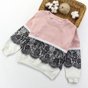 Image 2 - בנות ספורט חליפות תחרה בנות בגדים סטי סווטשירט + מכנסיים אביב סתיו ילדים בנות תלבושת בגדי גיל 4 6 8 10 12 14 שנה