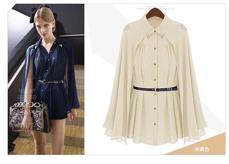 vestidos de fiesta Womens Chiffon Cloak Blouse Shirts Tops Elegant Navy Blue Beige Chiffon Cloak Sunscreen Tops Ladies Fashion  (14)