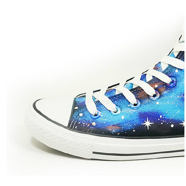 Fairy Tail Natsu Logo Print Blue White Luminous Canvas Shoes