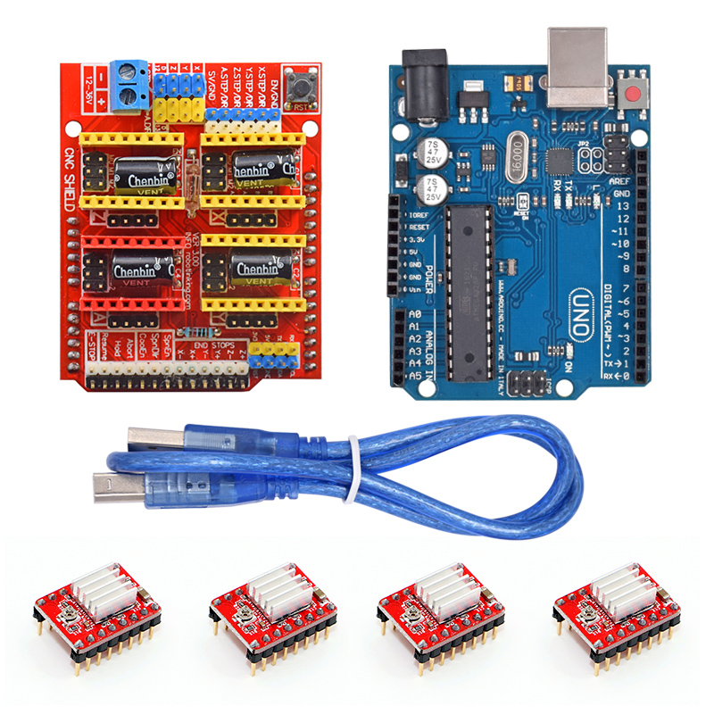 CNC Shield Expansion Board V3.0 +UNO R3 Board + A4988 Stepper Motor Driver With Heatsink Kits