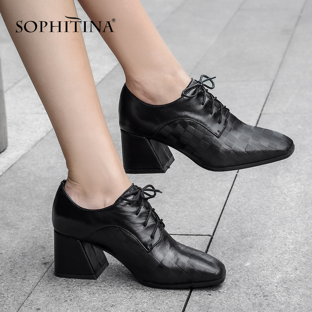 SOPHITINA Women s Basic Pumps High Square Heel Genuine Leather Square Toe Casual Shoes Handmade Ankle