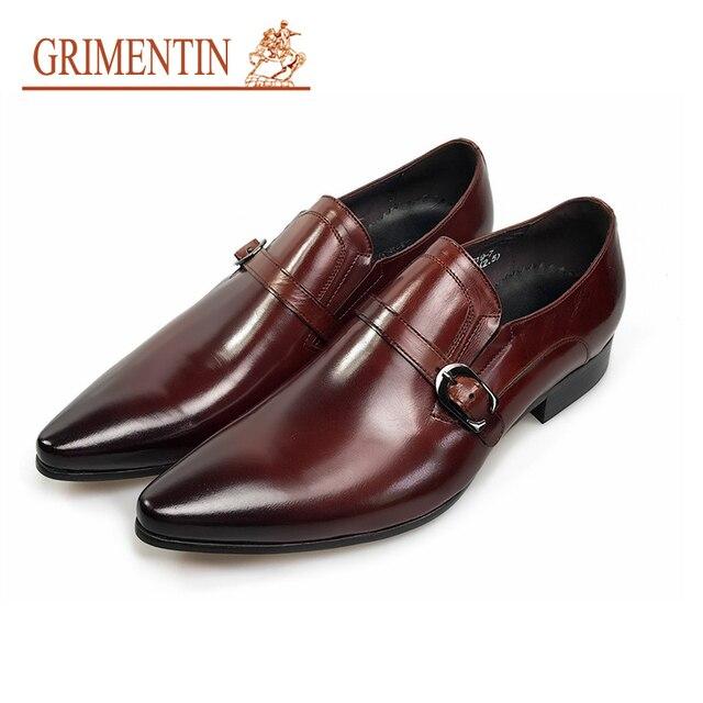 770b72c59 GRIMENTIN Zapatos de vestir de cuero genuino de moda para Hombre Zapatos de  negocios casuales marrones