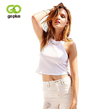 GOPLUS 2019 Off shoulder Halter Sleeveless White Shirts Women Sexy Short Vest Summer Loose Casual Party Tee Shirts Female Top white casual halter sleeveless t shirts