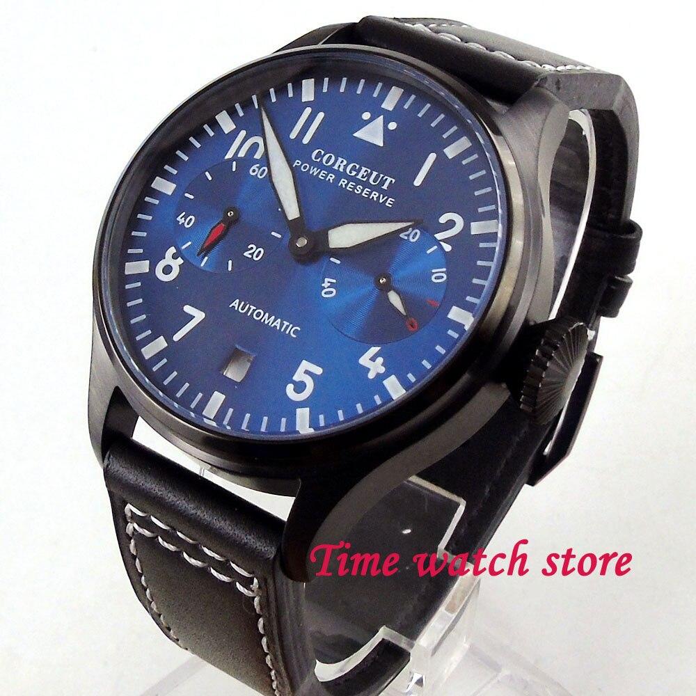 42mm Corgeut power reserve men's watch PVD case royal blue dial luminous date window Automatic wrist watch men 124