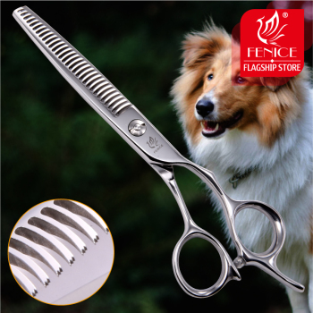 Fenice Professional Japan 440c 6.5 inch pet dog grooming thinning scissors toothed blade shears thinning rate about 35% fenice japan 440c pet grooming in dog hair trimmers thinning shear in dog scissors tesoura tijeras thinning rate 50 60%