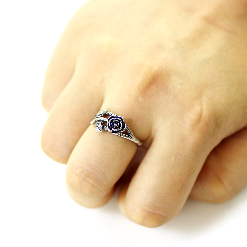 Rose Rings Silver Color Unique Geometric Design Delicate Flower Finger Spinner Rings