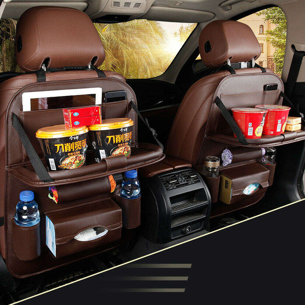 New Car PU Leather Back Seat Organizer Storage Bag Foldable Tidy Tray Holder Automobiles Interior Stowing Tidying Accessories