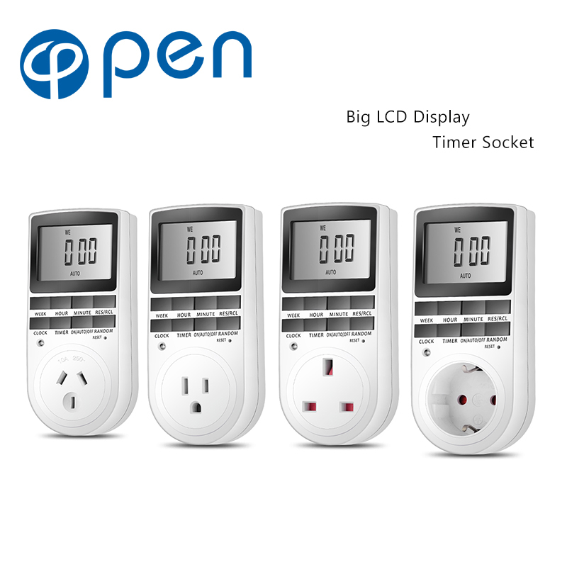 OPT 001 Electronic Digital Timer Switch Plug Kitchen Timer Outlet 230V 50HZ 7 Day 12 24 Hour Programmable Timing Socket in Electrical Sockets from Home Improvement