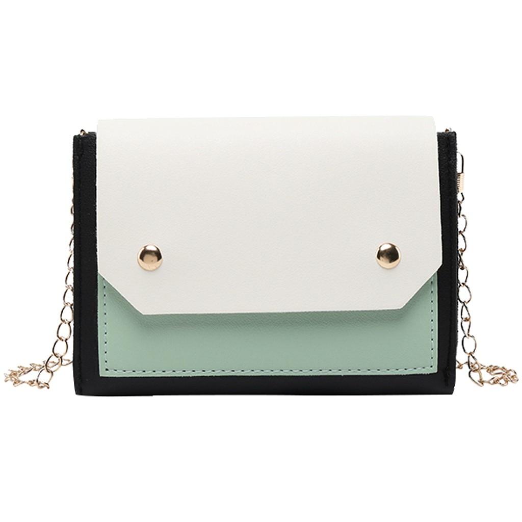 Panelled Flap Messenger Bag Mini Chains Envelope Crossbody Bags Fashion Women Leather Shoulder Bag Phone Bags Sac A Main#N35