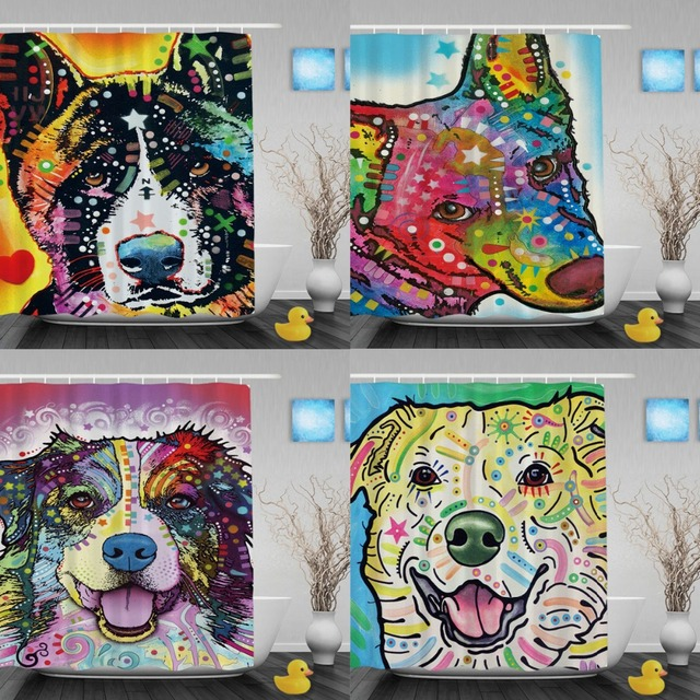 Cute Pet Dog Akita Printing Shower Curtain Waterproof Polyester Fabric Bathroom With Hooks Custom Gift Curtains