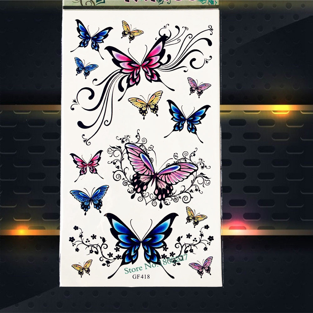 Hot Henna Butterfly Temporary Tattoo Stickers Women Body Arm Flash Tattoos PGF418 Lace Vines Waterproof Fake Tattoo Sticker Kids