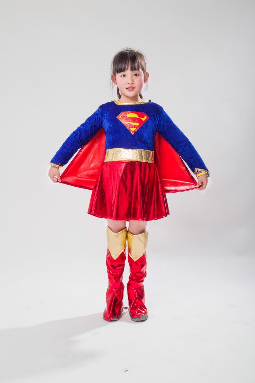 2018 New Costume Child Sexy Girls Costume  Supergirl Cosplay Superman Halloween Purim Costume For Kids Party Dress