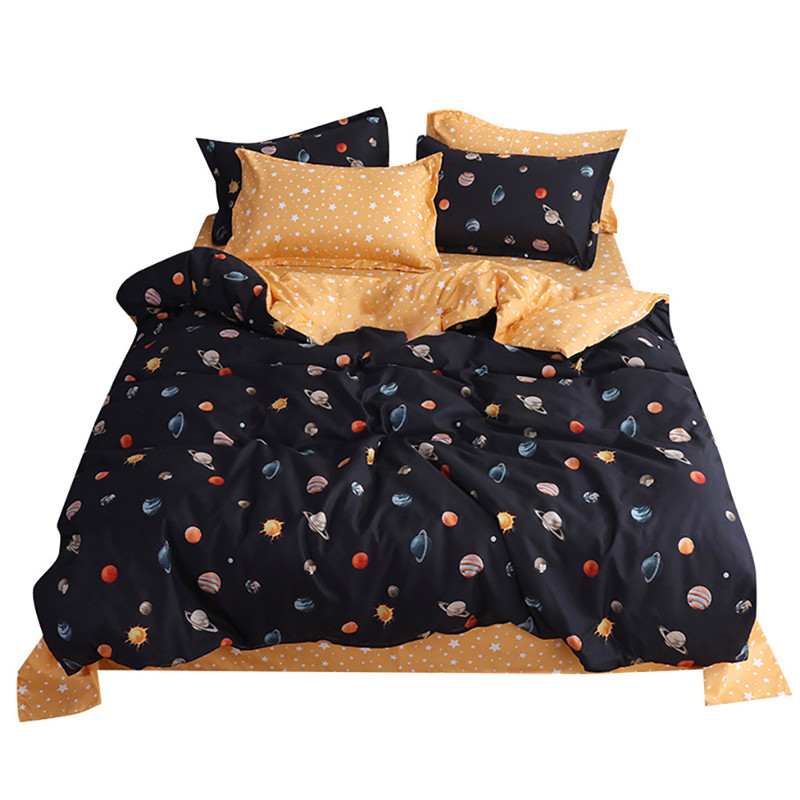 Four Piece Quilt Cover, Pillowcase Planet Full Size moon mattresses queen King size bed sheet  Sweet dream  modern concepts-in Bedding Sets from Home & Garden