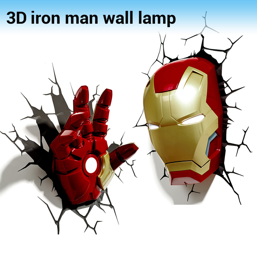 Creative Iron Man Shape 3D Wall Lamp Avengers Alliance LED Night Lights for Kids Room Decorate Children Gifts yimia creative 4 colors remote control led night lights hourglass night light wall lamp chandelier lights children baby s gifts