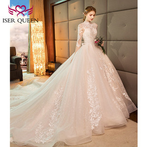 Image 5 - 高ネックヴィンテージハーフスリーブファンシーレース刺繍のウェディングドレス 2020 背中中空ボールガウン花嫁ドレス WX0160